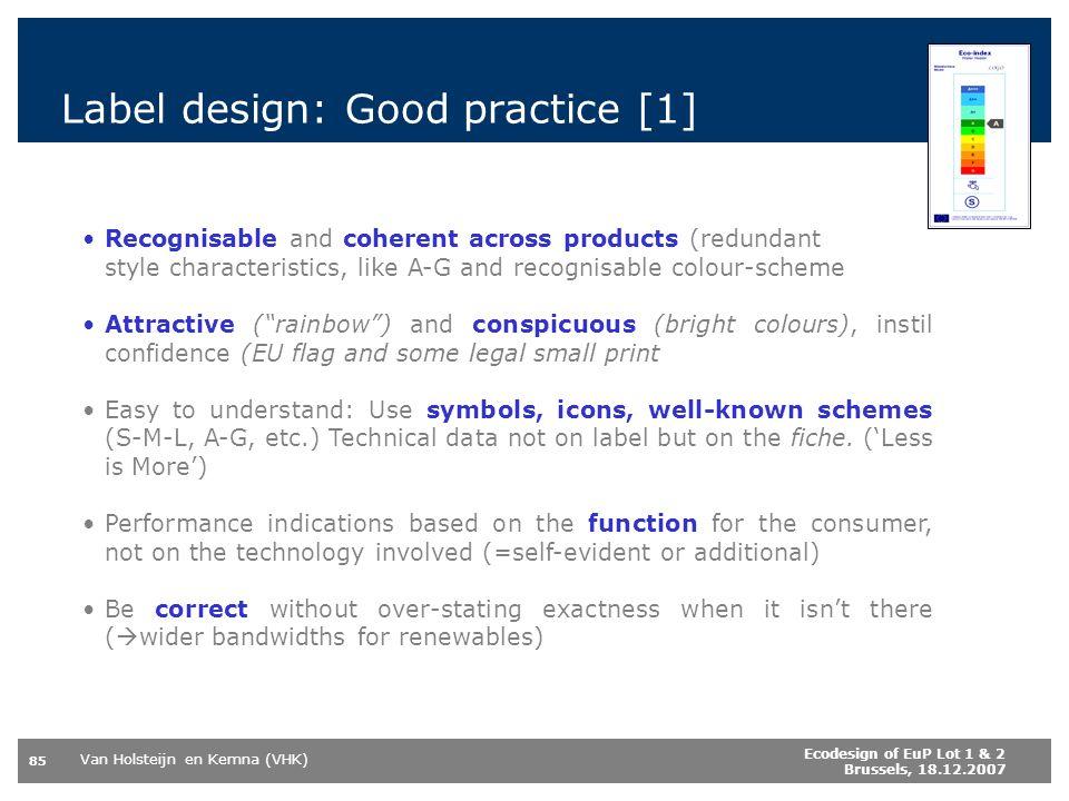 Label design: Good practice [1]